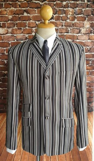 """Byron"" Black & White & Brown Stripe Boating Blazer"